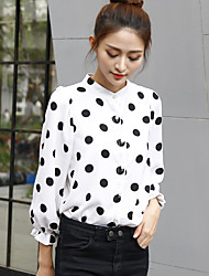 Sign 2017 spring new Korean wave point shirt female fashion loose snow wild stand-up collar shirt