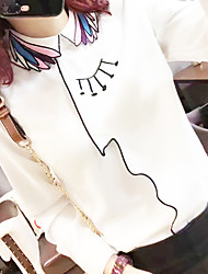 Women's Casual/Daily Simple Spring Blouse,Embroidered Shirt Collar Long Sleeve White Cotton