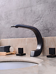 Contemporary Widespread Clawfoot with  Ceramic Valve Three Handles Three Holes for  Oil-rubbed Bronze , Bathroom Sink Faucet