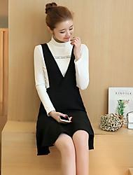 2017 new flounced V-neck vest dress strap dress fishtail skirt A word bottoming vest skirt suit