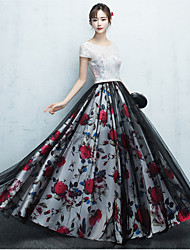 Formal Evening Dress - Pattern Dress Ball Gown Scoop Floor-length Lace Tulle with Lace Pattern / Print