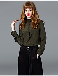 Women's Formal Work Simple Street chic Spring Shirt,Solid Stand Long Sleeve Black Green Silk Thin