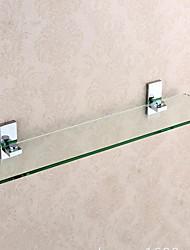 Bathroom Shelf Toothbrush Holder / ChromeBrass Glass /Contemporary