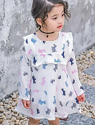 Girl's Print Dress,Cotton Summer Long Sleeve