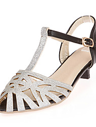 Women's Sandals Spring Summer Fall Synthetic Office & Career Dress Casual Low Heel Sequin Gold Silver