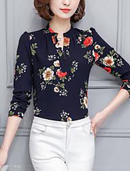 На выход Офис Большие размеры Весна Лето Блуза Воротник-стойка,Уличный стиль Цветочный принт Длинный рукав,Полиэстер,Тонкая