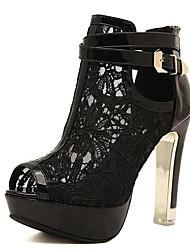 Damen-High Heels-Kleid-Stoff-StöckelabsatzWeiß Schwarz
