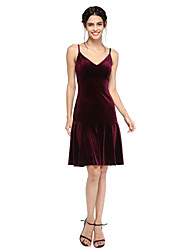 LAN TING BRIDE Knee-length Spaghetti Straps Bridesmaid Dress - Sexy Short Sleeveless Velvet