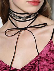 Collier court /Ras-du-cou Collier multi rangs Bijoux Chaîne unique Forme de Croix Alliage Basique Original Pendant Noir Bijoux Pour
