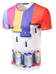 Men's Sports Casual/Daily Simple T-shirt,Print Rainbow Round Neck Short Sleeve Cotton