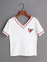 Tee-shirt Femme,Couleur Pleine Sortie simple Printemps Eté Manches Courtes Col en V Coton