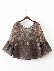 Dames Sexy T-shirt,Uitgaan Print Assymmetrisch Driekwart mouw Polyester