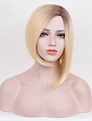 Fashion Straight Black To Blonde Color Synthetic Wigs Cosplay Wigs