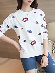 sinal 2017 primavera-coreano de lazer cobertura solta padrão lábio impressão selvagens grandes estaleiros de manga longa t-shirt das