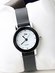 Masculino Mulheres Relógio de Moda Simulado Diamante Relógio Quartzo Couro Banda Legal Casual Preta