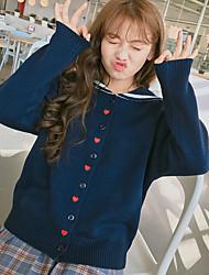 Sign 2017 Spring Girls Korean soft sister love embroidery navy lapel collar cardigan sweater coat female