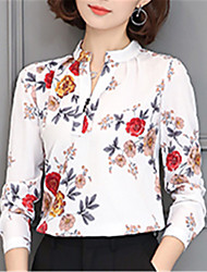 Fashion V Collar Long Sleeves Chiffon Flower Printing Upper Outer Garment Daily Leisure Party Dating Occupation OL Shirt