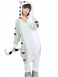 Kigurumi Pijamas Gato Leotardo/Pijama Mono Festival/Celebración Ropa de Noche de los Animales Halloween Gris Retazos Franela Disfraces de