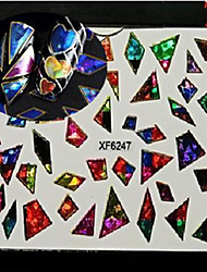 1pcs Nail Art XF Series Laser Glitter Sticker DIY Interesting Geometric Image Water Transfer Decals Nail Art Design XF6247-6254