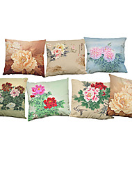 Set of 7 Chinese style Peony pattern Linen  Cushion Cover Home Office Sofa Square  Pillow Case Decorative Cushion Covers Pillowcases