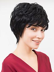 curto e grosso ondulado natural sem tampa preta cabelo humano peruca para meninas e mulheres de 2017