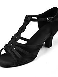 Customizable Women Dance Shoes Satin Fabric Satin Fabric Latin Sandals Heels Customized Heel Performance Black Brown