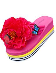 Women's Slippers & Flip-Flops PU Summer Casual Outdoor Flower Flat Heel White Black Yellow Fuchsia Flat