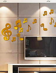 Musical Note Shape Mirror Wall Sticker Acrylic Plexiglass Material Home Decoration