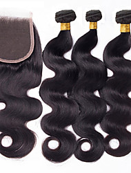 Vinsteen Peruvian Body Wave Hair Weaves with 4*4 Lace Closure 4Pcs Virgin Remy Human Hair Bundles Cheap Natural Black Color Dyeable Hair Extensions