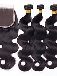 One Pack Solution Cheveux Péruviens Ondulation naturelle 12 mois 4 Pièces tissages de cheveux