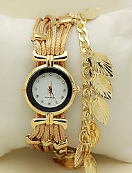 Жен. Часы-браслет Наручные часы Кварцевый Стразы Имитация Алмазный Кожа Группа Листья Красный Зеленый Золотистый