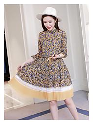 signe robe longue section printemps 2017 nouvelle jupe taille en mousseline de soie imprimé floral un mot