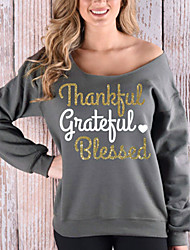 Women's Off The Shoulder Going out / Casual/Daily Street chic Spring / Fall T-shirt Letter Off Shoulder One Shoulder Long Sleeve Medium