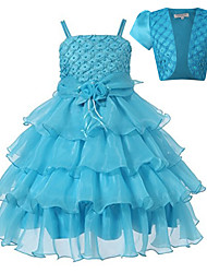 Princess Knee-length Flower Girl Dress - Cotton Tulle Sequined Polyester Short Sleeve Spaghetti Straps withBeading Bow(s) Flower(s) Sash