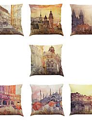 7 PC Lino Cobertor de Cojín Funda de almohada,Sólido Novedad Con Texturas Vida Salvaje Refranes y citasModerno/Contemporáneo Casual