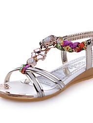 Sandalen-Kleid Lässig Party & Festivität-Kunstleder-Keilabsatz-Neuheit-Gold Silber