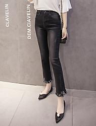 подписать 2017 весной новый корейской версии эластичный пояс загрузки вырезать бамбук края ткани бахромой джинсы