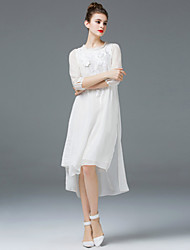 ZIYI Going out Cute Loose DressSolid Embroidered Round Neck Midi Long Sleeve Silk White Spring Summer Mid Rise Micro-elastic