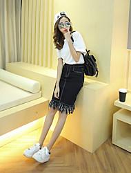 подписать корейская версия дикой была тонкая талия линии платье юбки из денима бахромой юбка женского колледжа ветер