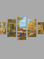 HD Print European Carriage scenery Painting Wall Art 5pcs/set Home Office Decor (No Frame)