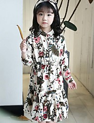 Girls Fashion Spring Han Edition Backing Screen Printing Flowers Fresh Long-Sleeved Dress