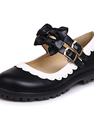 Flats Spring Summer Fall Winter Mary Jane Leatherette Party & Evening Dress Casual Flat Heel Bowknot Buckle Stitching Lace Black Pink Red