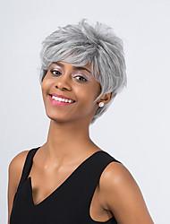 elegante hoar cabelo curto peruca sintética elegante naturais moda