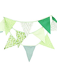3.6m 12Flags Green Flower Pattern Banner Pennant  Cotton Bunting Banner Booth Props Photobooth Birthday Wedding Party Decoration