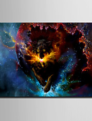 E-HOME Stretched LED Canvas Print Art Angry Wolf LED Flashing Optical Fiber Print One Pcs