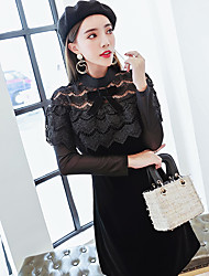 Big ladies flounced lace stitching gold velvet long-sleeved dress real shot