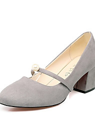 Han edition high heels comfortable elegant new round head thick with shallow single pearl accessories shoes for women's shoes
