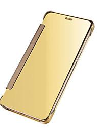 Pour Veille/Déverrouillage Automatique Plaqué Miroir Clapet Coque Coque Intégrale Coque Couleur Pleine Dur Polycarbonate pour SamsungJ7