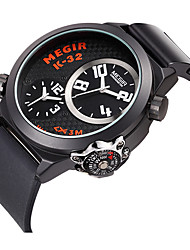 Men's Sport Watch Quartz Silicone Band Black Brand
