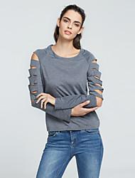 Damen Solide Einfach / Street Schick Lässig/Alltäglich T-shirt,Rundhalsausschnitt Frühling / Herbst Langarm Grau Polyester Mittel